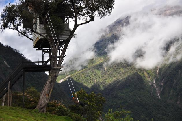 La balançoire au bout du monde a Banos Equateur