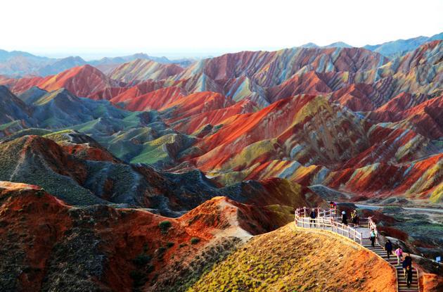 Les formations rocheuses de Zhangye Danxia a Gansu Chine