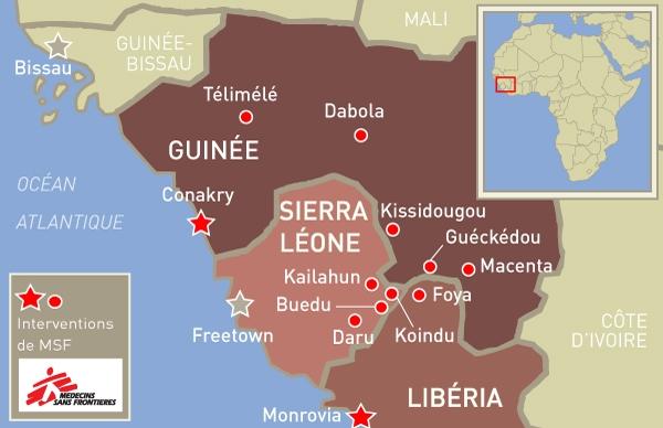 carte de Ebola en Afrique de l'Ouest (Ebola map_ 24 June_FR)